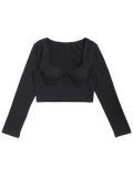 Long Sleeve Cropped Cotton Padded Top