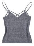 Gray Cami Heathered Cropped Knitted Tank Top