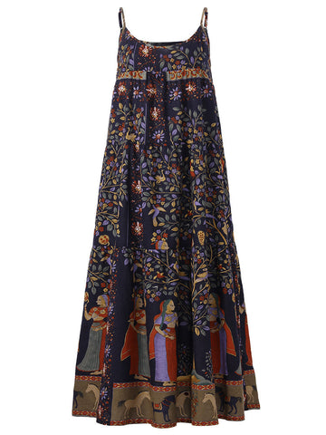 Plus Size Ethnic Printed Spaghetti Strap Mid-Long Dresses