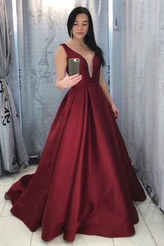 A Line Satin Burgundy V Neck See Through Backless Prom Dress