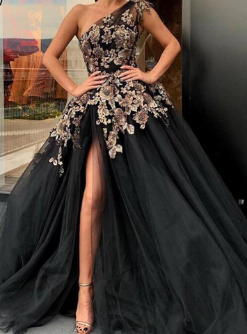 One Shoulder Embroidery Black Ball Gown Tulle Prom Dress