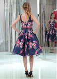 Gorgeous Floral Cloth V-neck Neckline Knee-length A-line Homecoming Dresses With Beadings