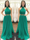 Green Halter Beading Tulle Two Piece Prom Dresses