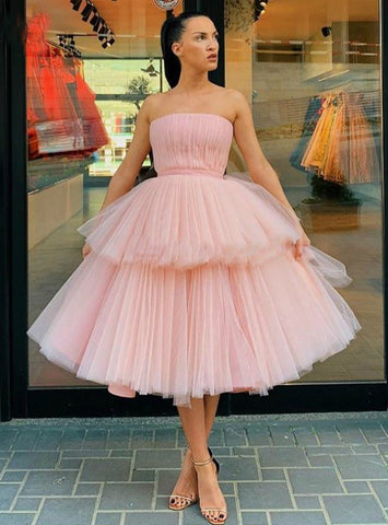 Short Pink Tulle Strapless Tiered Ball Gown Prom Dress