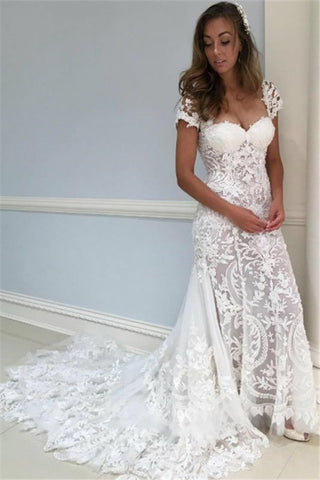 See Through Cap Sleeve Lace V-Neck Ruffles Wedding Dress