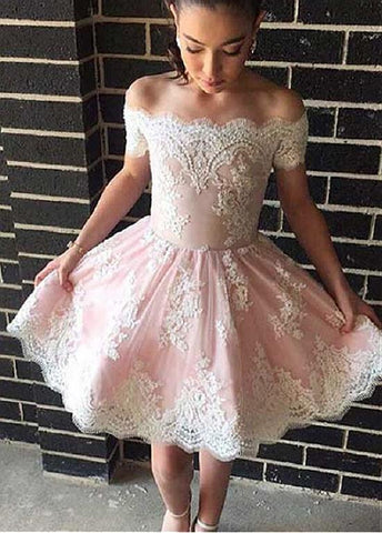 Beading Tulle Off-the-shoulder Short Sleeves A-line Homecoming Dress