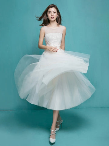 Beading Tea-Length Wedding Dress