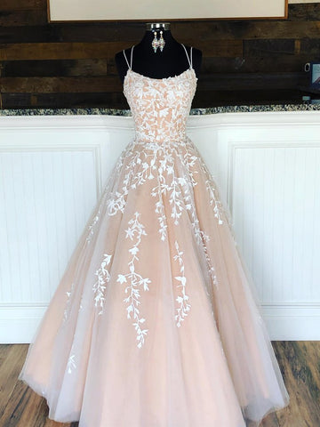 Champagne Long Lace Appliques Tulle Lace Up Back Prom Dress