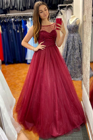 Scoop Long Sheer A-Line Red Beading Tulle Prom Dress
