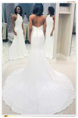 Backless Halter Open Back Satin Sheath Column Wedding Dress