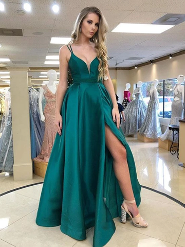 Long V Neck Satin Green Prom Dress with High Slit