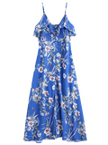 Button Up Floral Ruffles Maxi Dress Chic