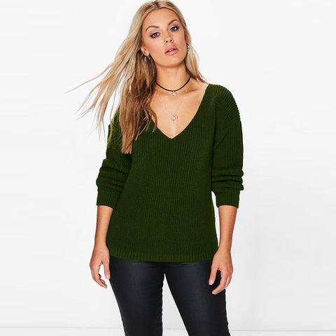 Black V Neck Round Neck Sweater