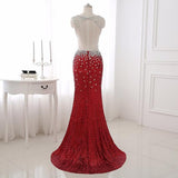 Trendy Crystal Backless Beading Chiffon Red Dress