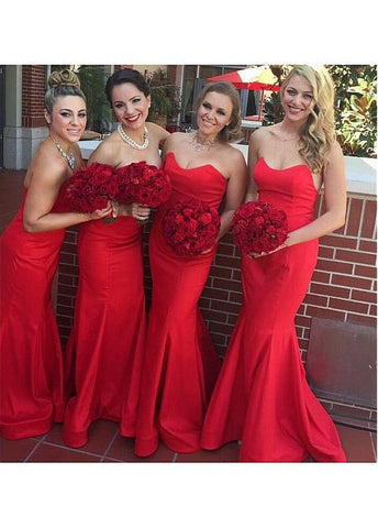 Festival Stretch Satin Strapless Neckline Mermaid Bridesmaid Dress