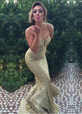 Sparkling Sequin Mermaid Evening Dresses With Ruffles