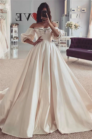 Satin Short Sleeve Beads Off The Shoulder Ball Gown Wedding Dress