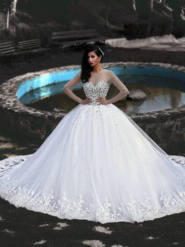 Ball Gown Tulle Beading Scoop Long Sleeves Long Wedding Dress