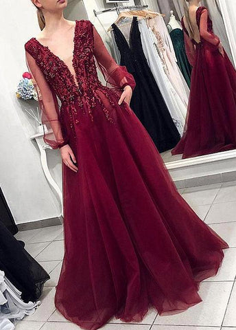 Tulle V-neck Beading Burgundy Long Sleeves A-line Evening/Prom Dress
