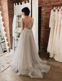 Floor Length A-Line Gray Appliques Backless Tulle Wedding Dress