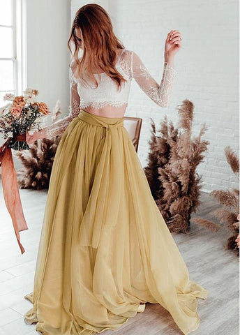Gold Organza Lace Jewel Two Piece Long Sleeves A-line Prom Dress