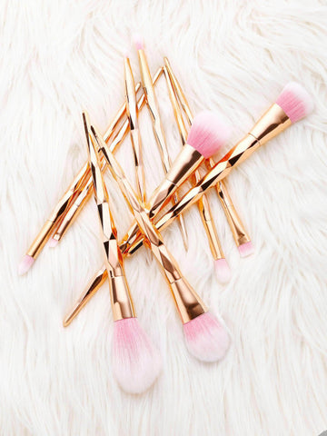 Pink Diamond Shaped Makeup Brush 10pcs