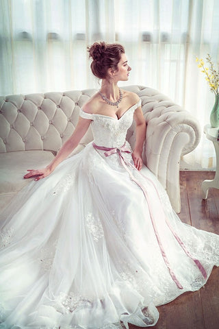 Lace Long Unique White Off The Shoulder Wedding Dress With Belt