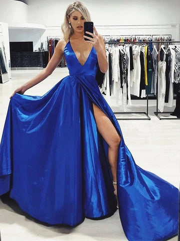 Long A Line V Neck Royal Blue Satin Prom Dresses with Split