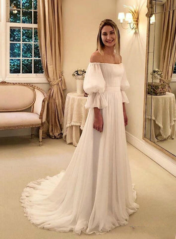 White Chiffon Puff Sleeve Off the Shoulder A-Line Wedding Dress