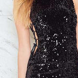 Side Hollow Bandage Sequins Sleeveless Dress