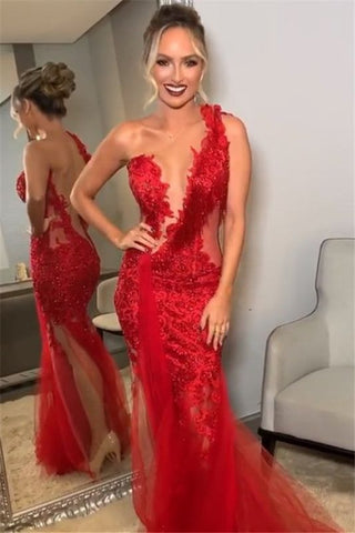 Applique Backless One Shoulder Lace Red Sexy Mermaid Tulle Prom Dresses
