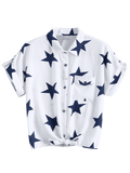 Button Up Star Pattern Pocket Shirt