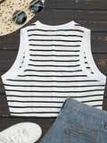 Sports Cropped Stripes Tank Top