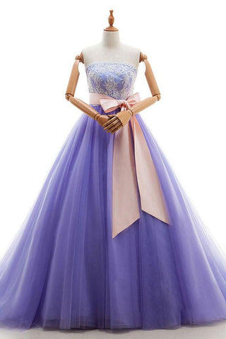 Appliques Long Purple Tulle Lace Prom Dress With Belt