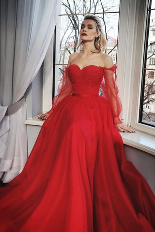 Tulle Off The Shoulder Red Long Sleeve Beading Prom Dress