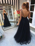 Tulle Double Straps Beading A-Line Black Backless Prom Dress
