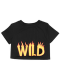 Black Cropped Fire Letter Top