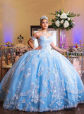 Ball Gown Sweetheart Blue Tulle Quinceanera Dress with Appliques