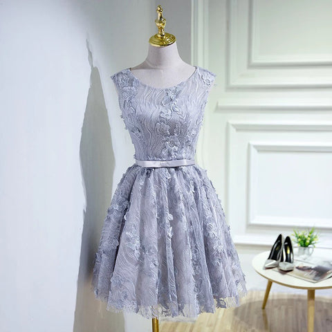 Silver Vintage Lace Homecoming Dress