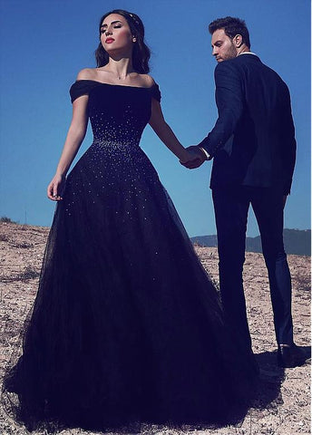 Navy Off-the-shoulder Neckline  Prom Dresses With Beadings