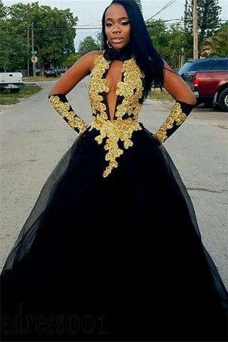 Black Halter Tulle Gold Appliques Ball Gown Prom Dress