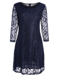 Blue Short Lace Dress With Sleeves