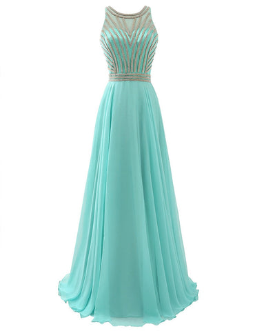 Long Chiffon Mint Beading Prom Dress