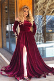 Velvet Long Sleeves Burgundy Off-The-Shoulder Prom Dress