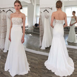 Strapless Sweep Train Elastic Satin Wedding Dress with Lace