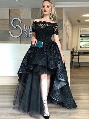 Lace Off-the-Shoulder Short Sleeves Sweep Train Evening Dress