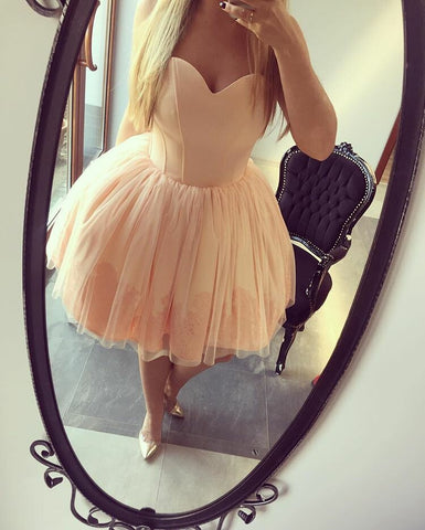Pink Short Homecoming Dress With Appliques