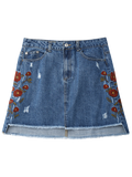 Floral Embroidered Frayed Hem Denim Skirt