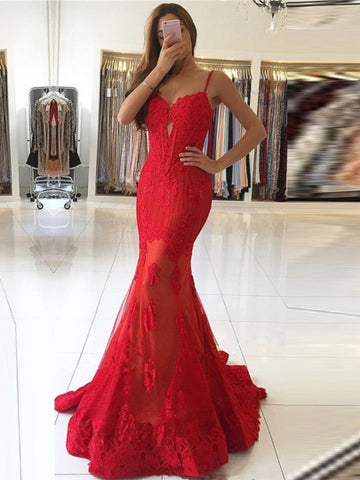 Mermaid Spaghetti Straps Beading Lace Court Train Evening Dress