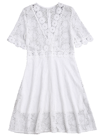 White Sheer Plunge Neck Lace Dress